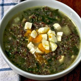 Quinoa Chowder with Cumin, Feta, and Spinach.