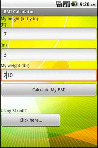 BMI (imperial)- screenshot