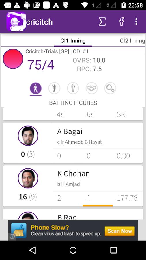 LIVE cricket Scores - cricitch - screenshot