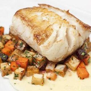 Roast Cod With Lemon Beurre Blanc And Winter Ratatouille