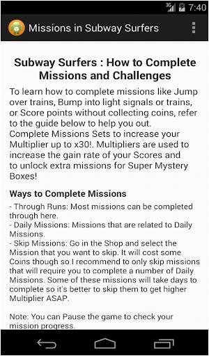 Mission Challenge Subway Surf