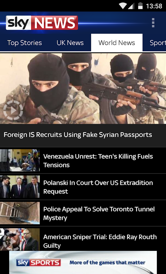 Sky News - screenshot