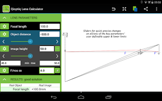 Screenshot of Qioptiq Lens Calculator