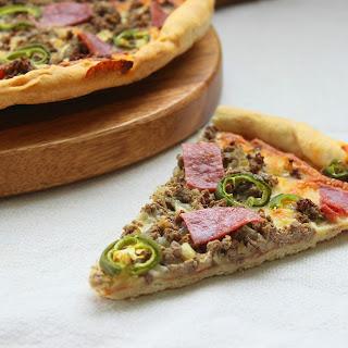 Beef and Chorizo Pizza.