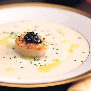 Cauliflower Soup with Seared Scallops, Lemon Oil, and American Caviar