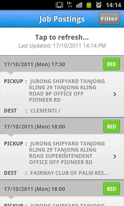 ComfortDelGro Driver Job Bid - screenshot