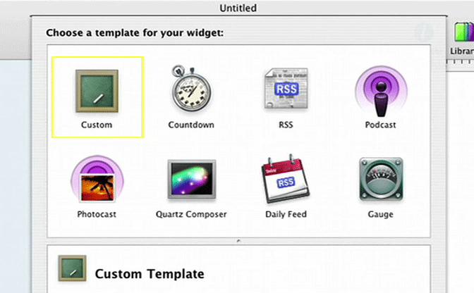 Dashcode template selection