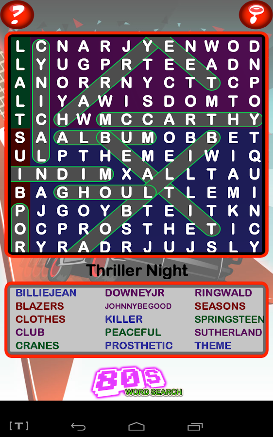 Epic 80s Word Search- screenshot