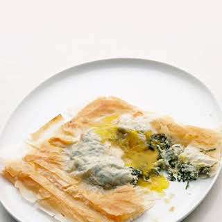 Phyllo Squares with Baked Egg, Spinach, and Cheese.