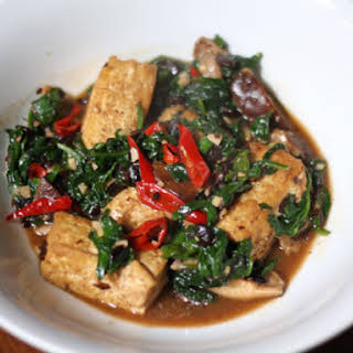Home-Style Tofu with Mushrooms, Spinach, and Fermented Black Beans.