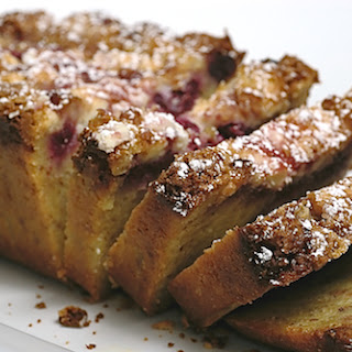 Raspberry, White Chocolate, and Almond Loaf.