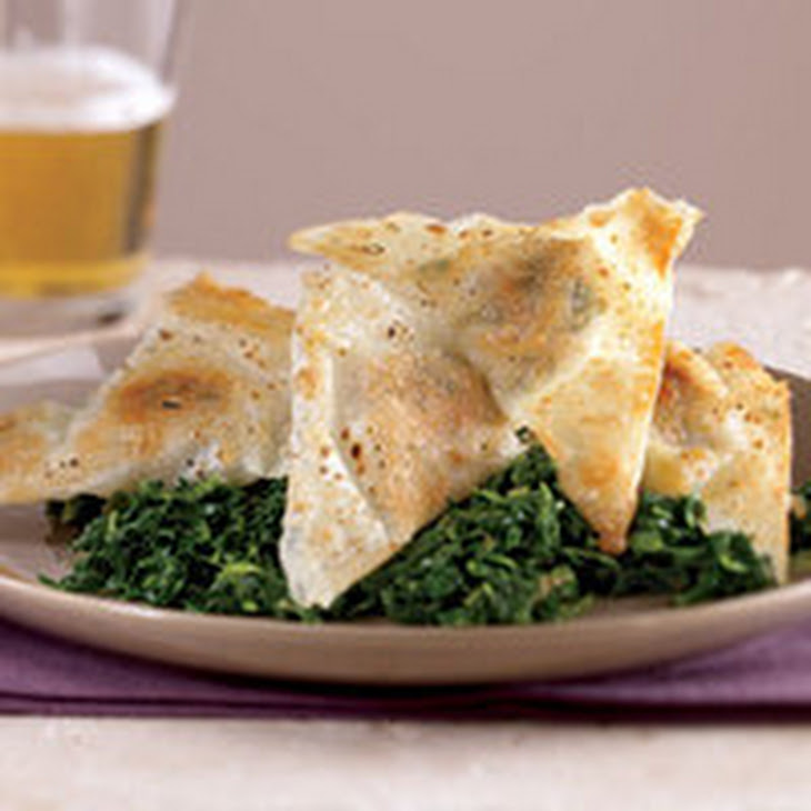 Pan-Fried Pork Wontons with Spinach Recipe