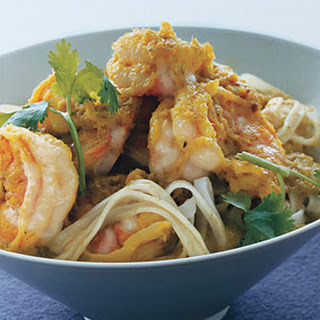 Green Curry Shrimp with Noodles.