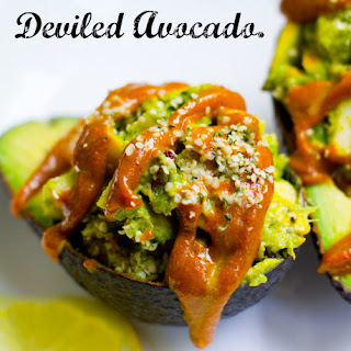 Deviled Avocado. Spicy Curry Sauce. Cado-Crunch Salad.