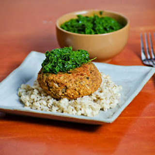 Red Lentil Burgers With Kale Pesto.
