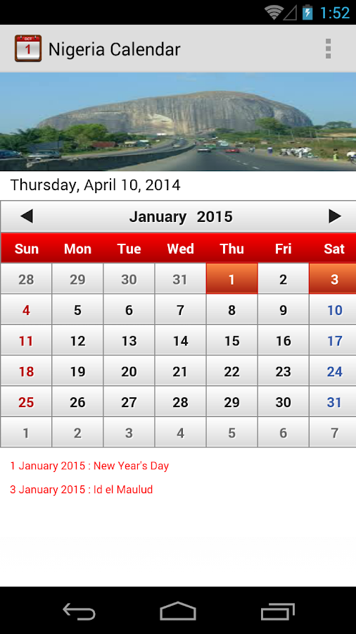 Calendar Nigeria : Nigeria calendar android apps on google play