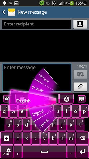 粉红色键盘智能手机