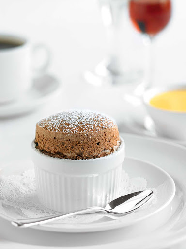 chocolate-souffle - A chocolate souffle dessert tops off a meal during a Princess Cruises sailing.