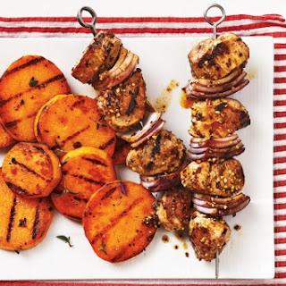 Mustard-Glazed Pork Skewers with Grilled Sweet Potatoes Recipe