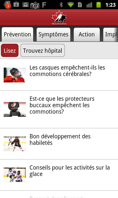 Sensibilisation aux commotions - screenshot