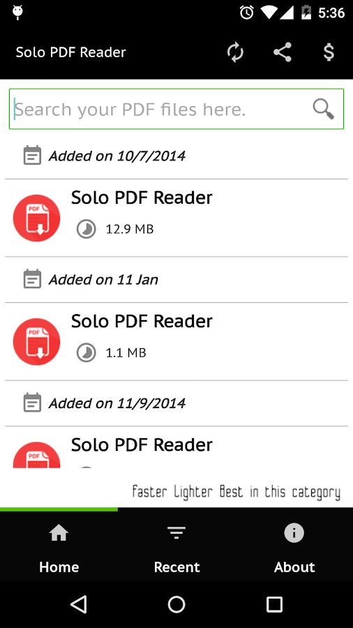 Solo PDF Reader- screenshot