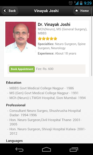 Dr Vinayak Joshi Appointments
