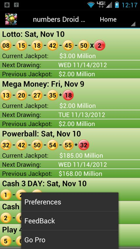 GA Lottery Droid Lite - screenshot