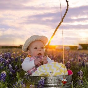 Fishin' For Bluebonnets by Michele Dan - Babies & Children Babies ( blue flowers, texas, baby girl, fishing, baby photography, flowers )