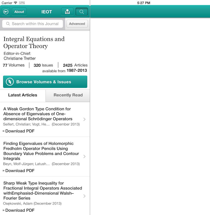 Integ Eqns and Operator Theory- screenshot