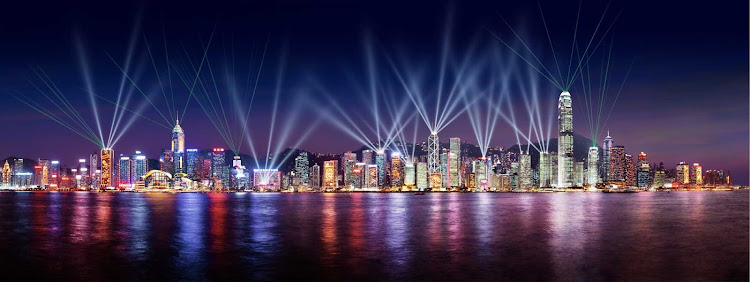 The Symphony of Lights laser show in Hong Kong.
