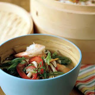Basil-Steamed Shrimp with Soba Noodles.