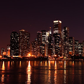 Chicago by Gary Poulsen - City,  Street & Park  Skylines ( water, reflection, skyline, skyscrapers, night, chicago,  )