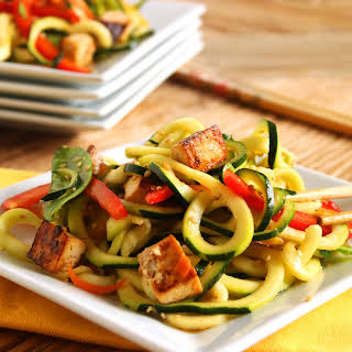 Asian Style Zucchini Noodle Salad with Baked Tofu.