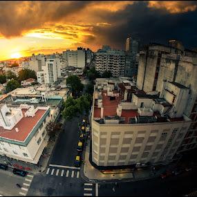 Day and Night  by Sergio Moya - City,  Street & Park  Skylines ( clouds, sky, sunset, sunrise, landscape, city,  )