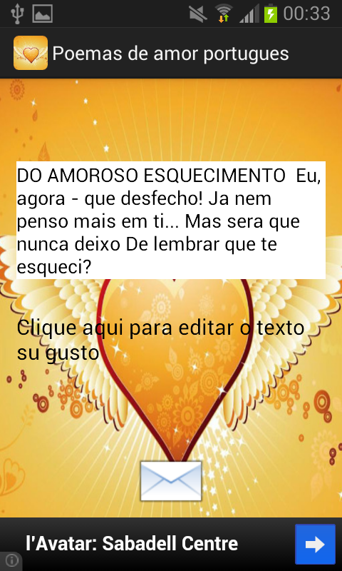 Poemas de amor portugues - screenshot