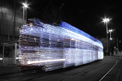 Light tram by István Decsi - Transportation Other ( hungary, budapest, christmas, tram, light, , selective color, pwc )