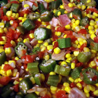 Okra, Corn and Tomatoes.