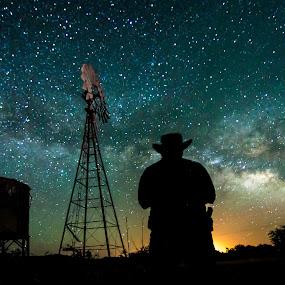by Ed Mullins - Landscapes Starscapes ( milkyway, ranch, cowboy, arizona, night sky, sonoita, windmill, milky way,  )