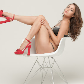 Viktorya's Red shoes by Danny M - People Portraits of Women