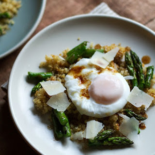 Poached Eggs with Crispy Quinoa and Brown Butter- Balsamic Roasted Asparagus