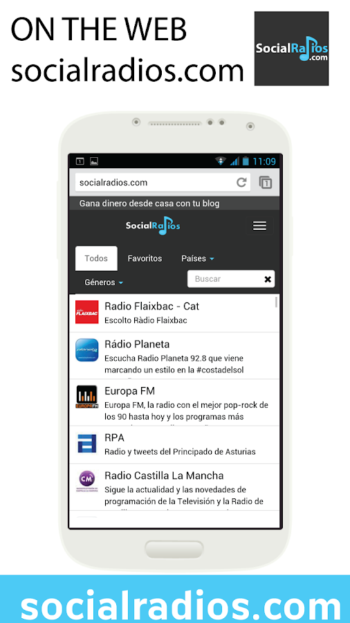 SocialRadios. Listen to radios - screenshot