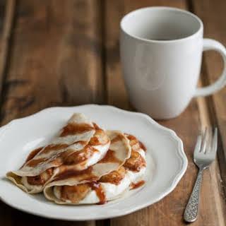 Barley Crepes with Yogurt and Cinnamon-Honey Bananas.