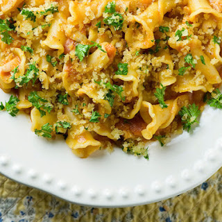 Pasta with Clams, Vodka Sauce and Crispy Breadcrumbs.