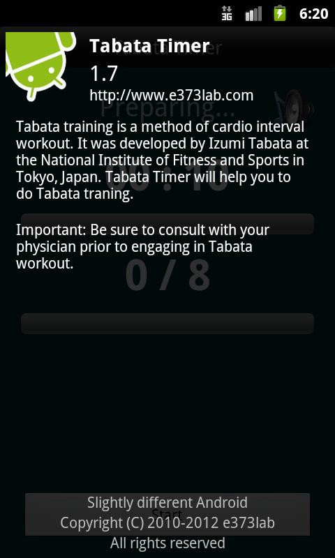 Tabata timer - screenshot