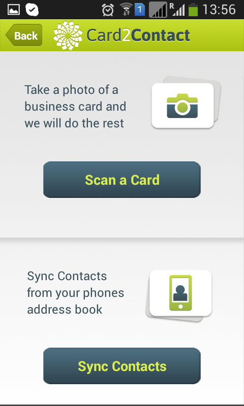 Card2Contact - screenshot