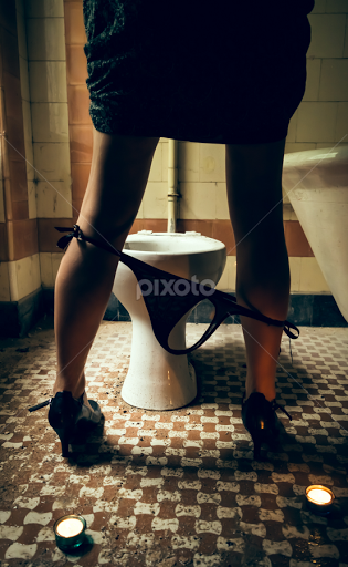 Voyeur woman on the toilet the purpose
