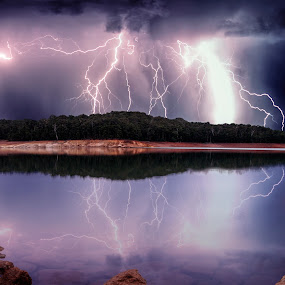 Severe storm approaching by Craig Eccles - News & Events Weather & Storms ( clouds, thunder, lightning strike, reflection, news, lake, storm, lightning, rocks., event, weather, trees, thunder storm, thunder bolt,  )