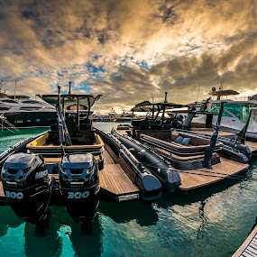 Port by Vincenzo Bernardi - Transportation Boats ( water, sky, blue, transport, ship, sea, transportation, view, boat, maritime, nautical, anchor, device,  )