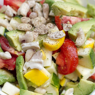 Avocado, Cashew, Tomato, & Summer Squash Salad.