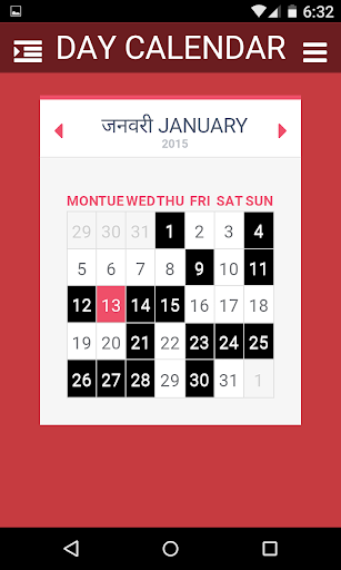 Day Hindi English Calendar